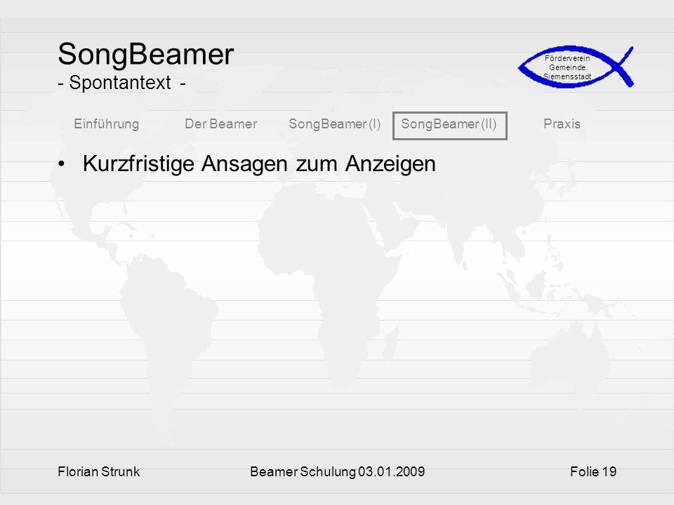 SongBeamer - Spontantext -