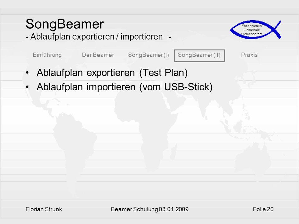 SongBeamer - Ablaufplan exportieren / importieren -