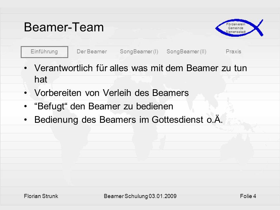 Beamer-Team Verantwortlich für alles was mit dem Beamer zu tun hat