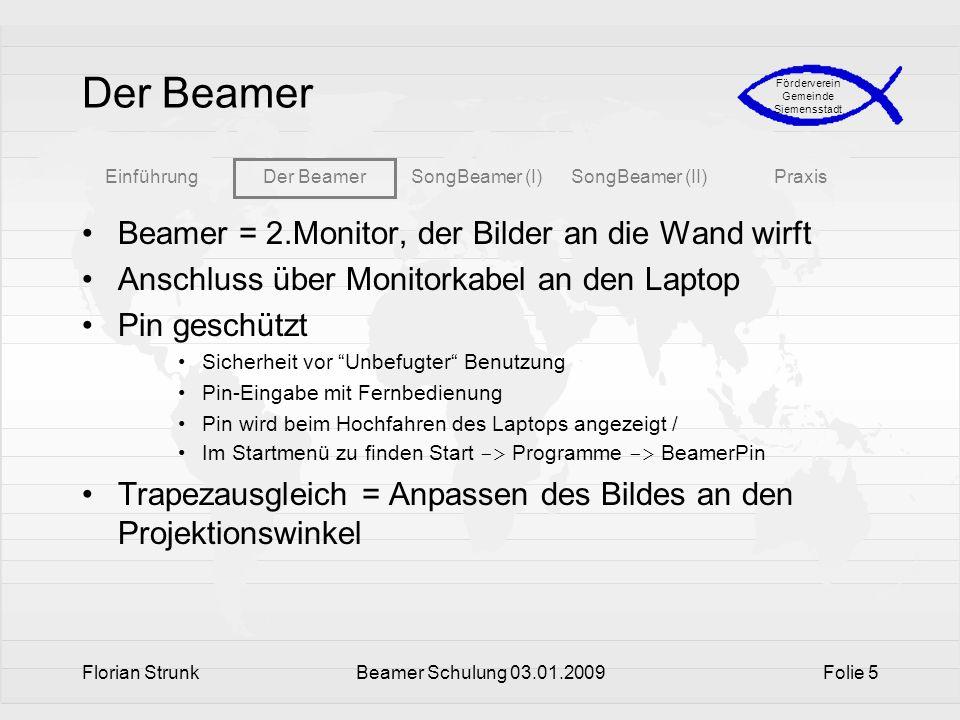Der Beamer Beamer = 2.Monitor, der Bilder an die Wand wirft