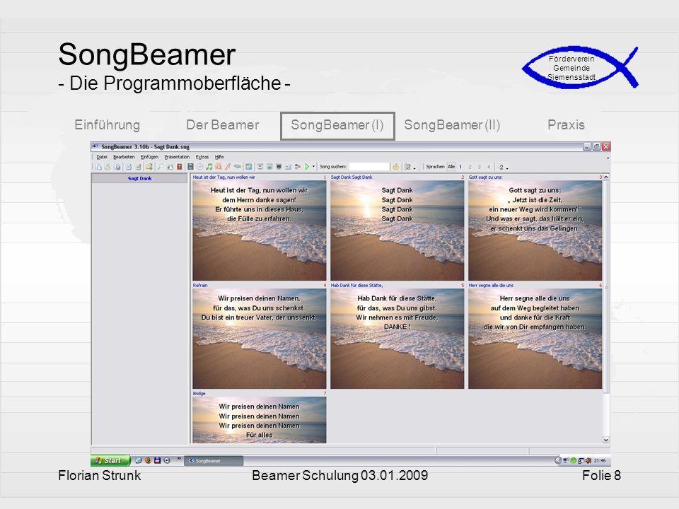SongBeamer - Die Programmoberfläche -