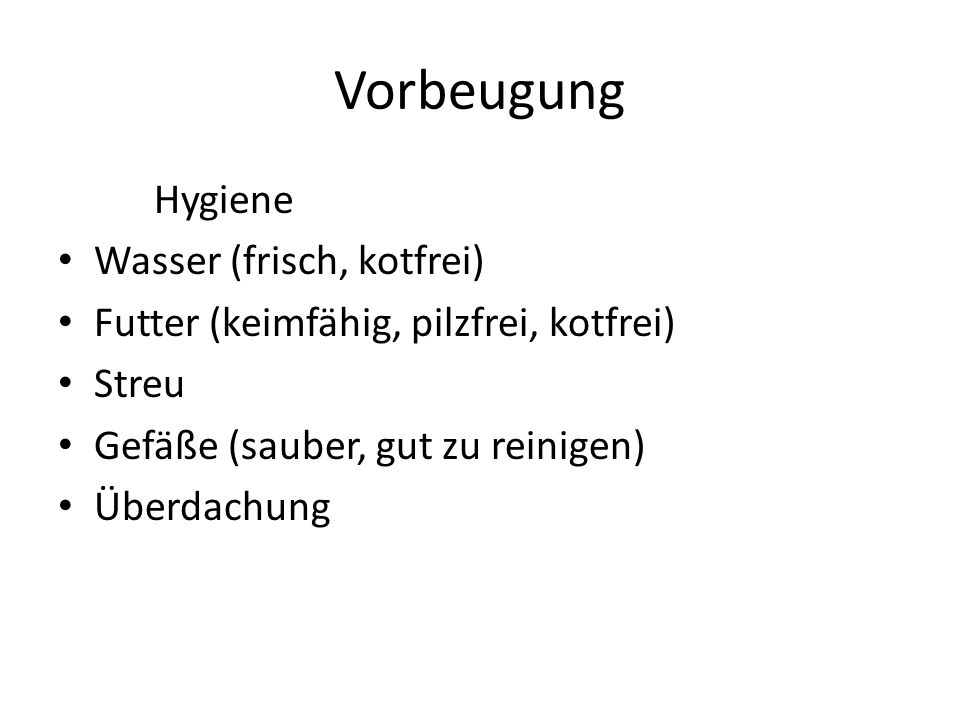 Vorbeugung Hygiene Wasser (frisch, kotfrei)