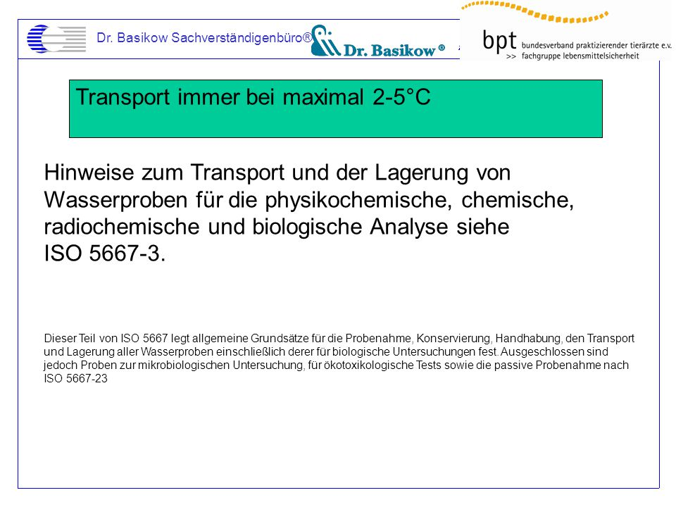 Transport immer bei maximal 2-5°C