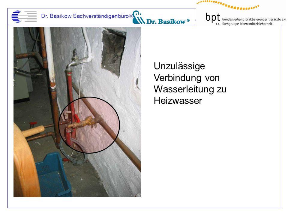 Unzulässige Verbindung von Wasserleitung zu Heizwasser