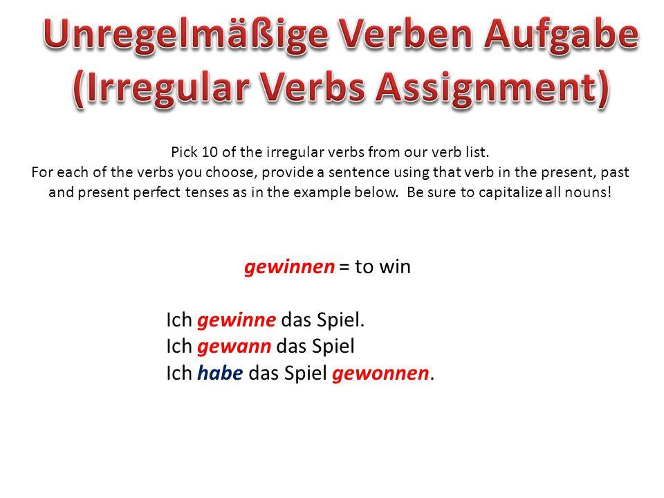 Unregelmäßige Verben Aufgabe (Irregular Verbs Assignment)
