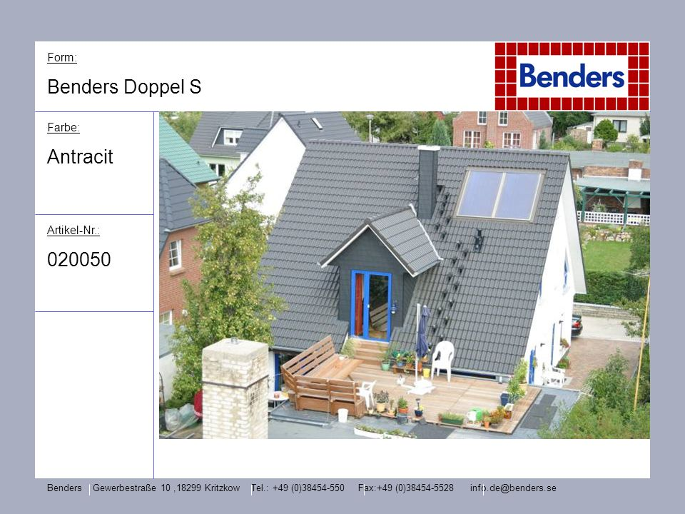 Benders Doppel S Antracit 020050 Form: Farbe: Artikel-Nr.: