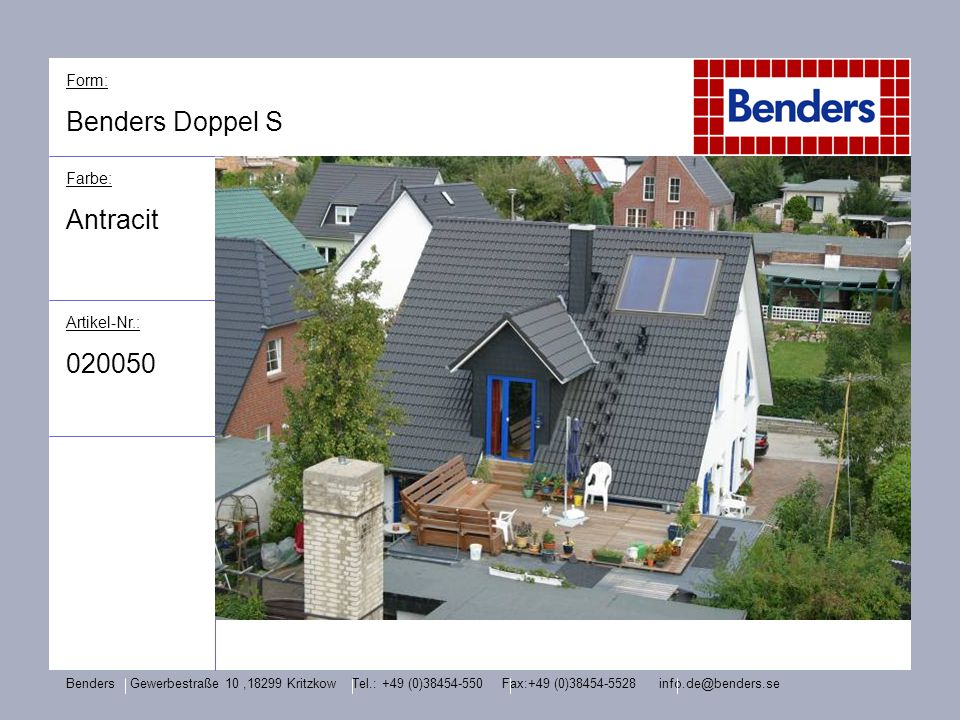 Benders Doppel S Antracit Form: Farbe: Artikel-Nr.: