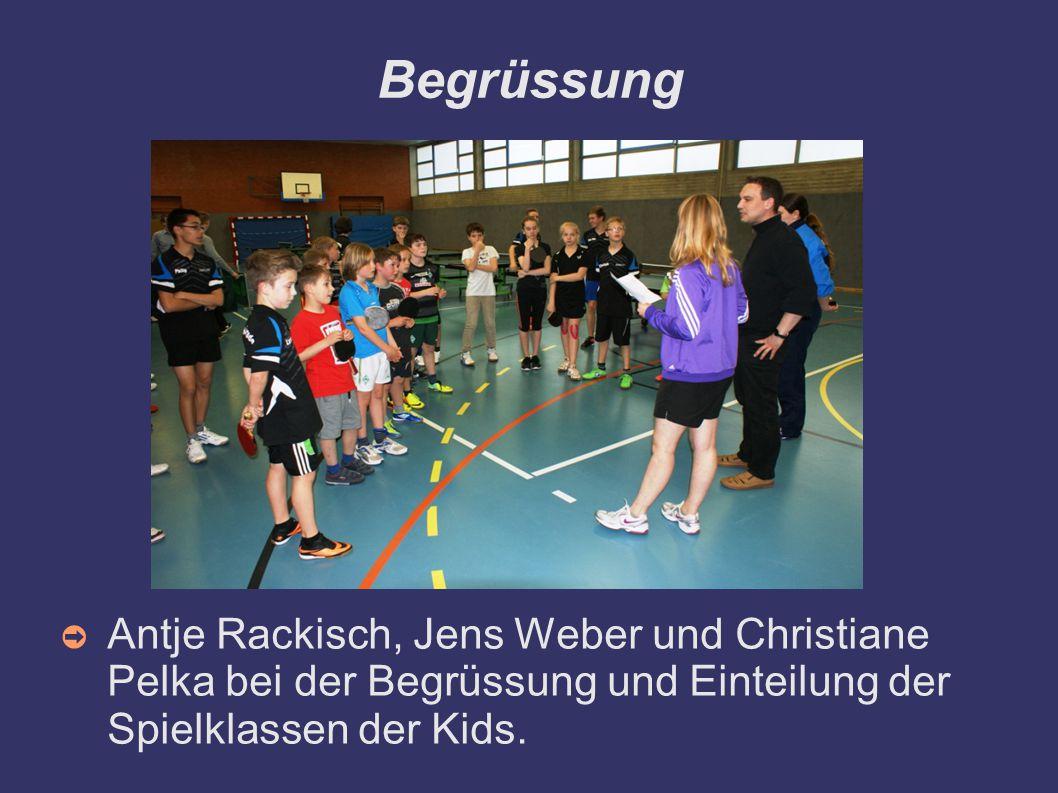 Begrüssung Antje Rackisch, Jens Weber und Christiane Pelka bei der Begrüssung und Einteilung der Spielklassen der Kids.