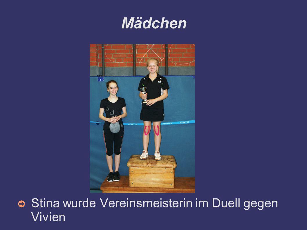 Mädchen Stina wurde Vereinsmeisterin im Duell gegen Vivien