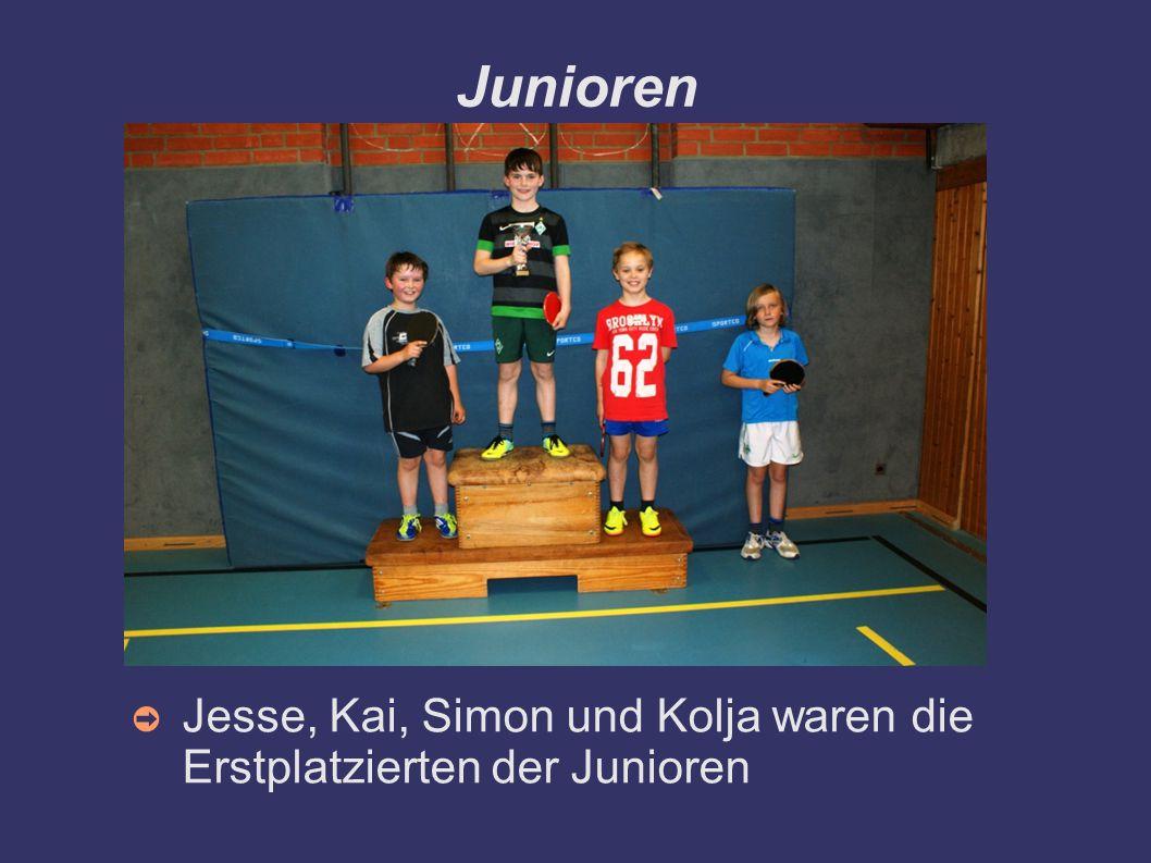 Junioren Jesse, Kai, Simon und Kolja waren die Erstplatzierten der Junioren