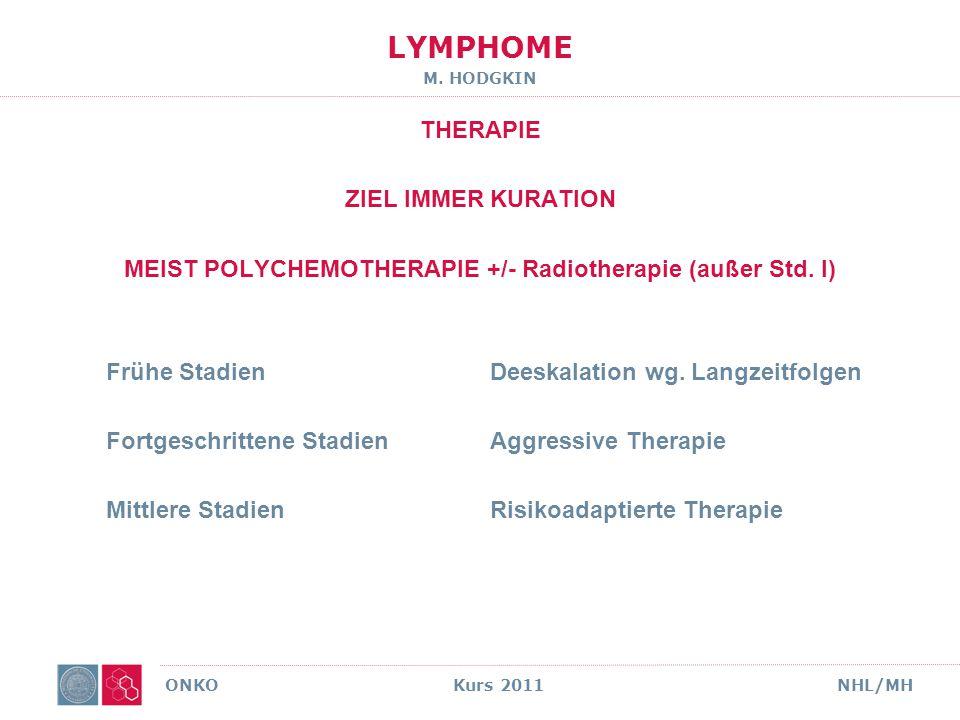 MEIST POLYCHEMOTHERAPIE +/- Radiotherapie (außer Std. I)