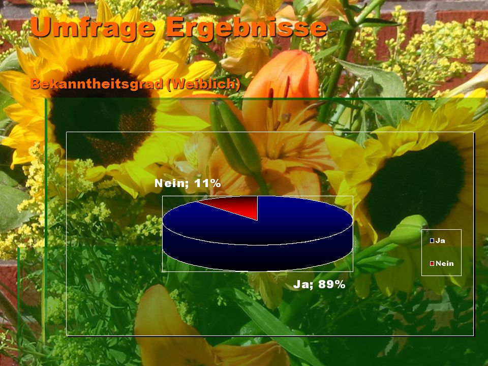 Umfrage Ergebnisse Bekanntheitsgrad (Weiblich)