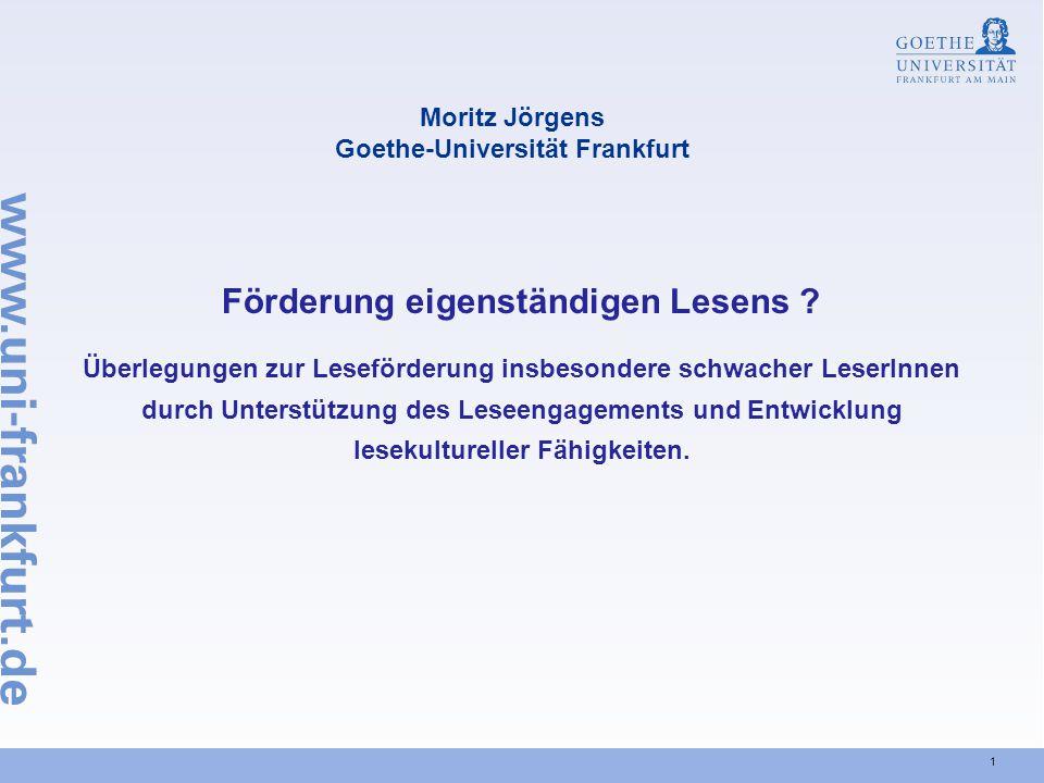 Moritz Jörgens Goethe-Universität Frankfurt