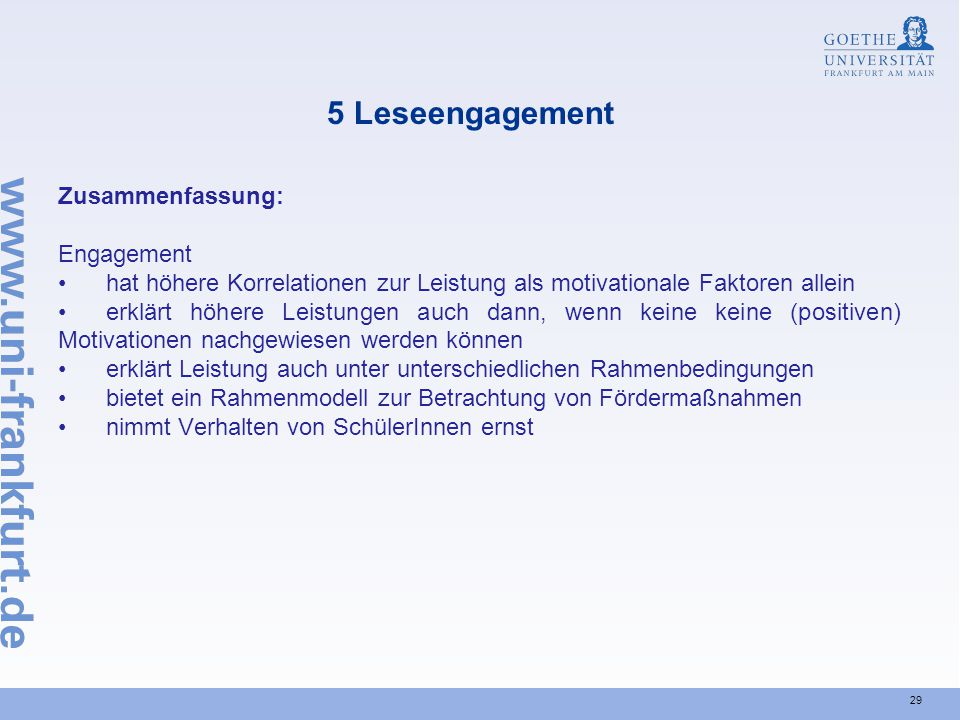 5 Leseengagement Zusammenfassung: Engagement