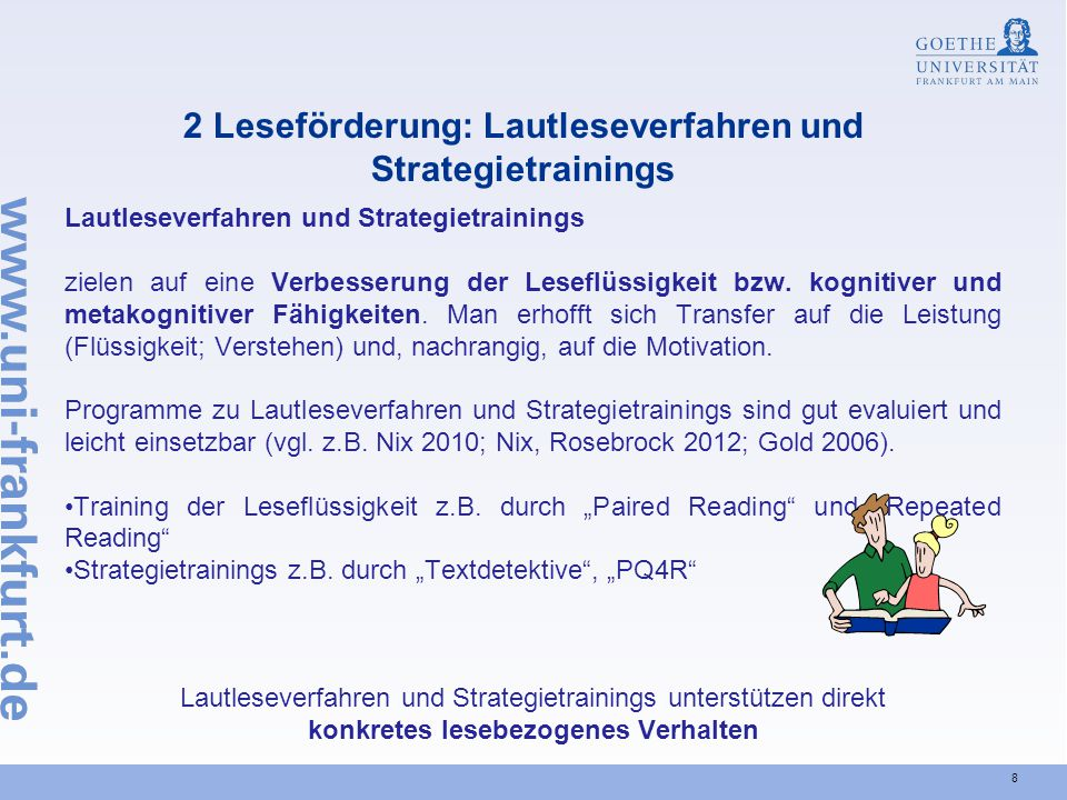 2 Leseförderung: Lautleseverfahren und Strategietrainings