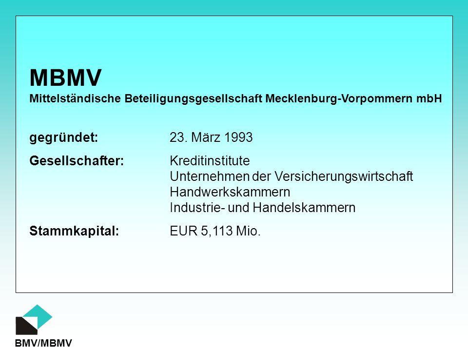 MBMV gegründet: 23. März 1993 Gesellschafter: Kreditinstitute