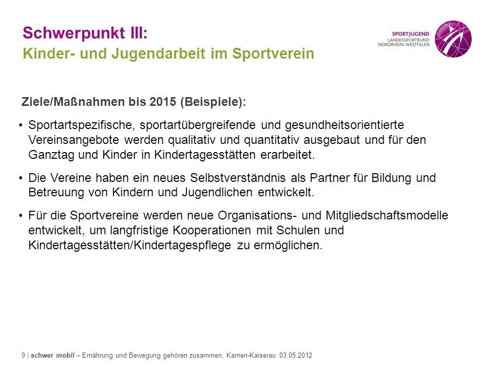 Schwerpunkt III: Kinder- und Jugendarbeit im Sportverein