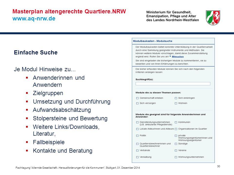 Masterplan altengerechte Quartiere.NRW www.aq-nrw.de