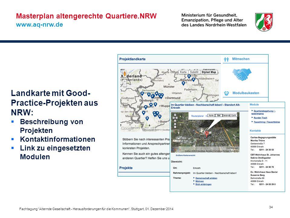 Landkarte mit Good-Practice-Projekten aus NRW: