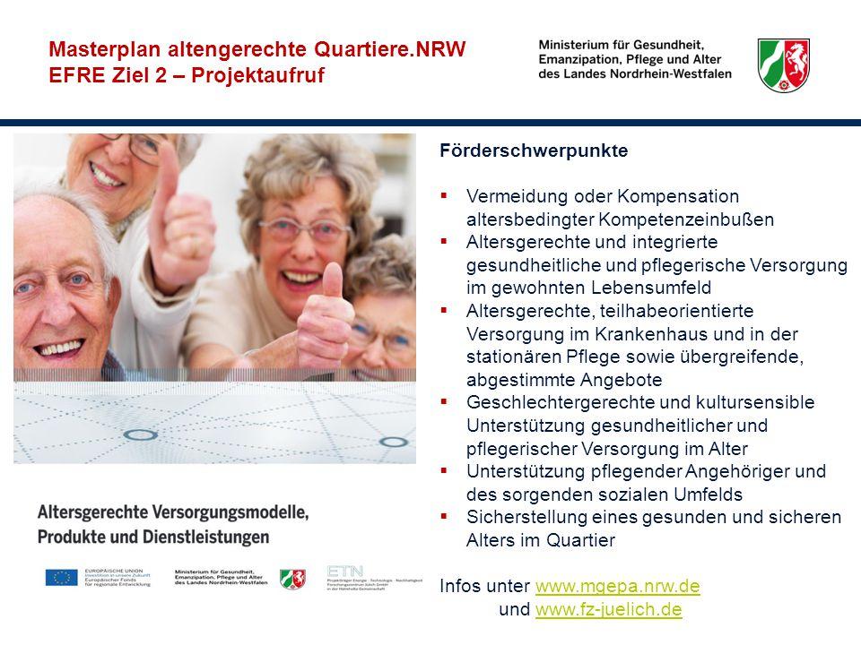 Masterplan altengerechte Quartiere.NRW EFRE Ziel 2 – Projektaufruf