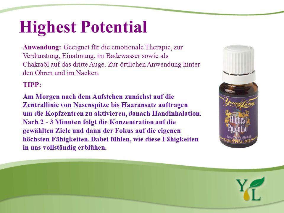 Highest Potential Anwendung: Geeignet für die emotionale Therapie, zur Verdunstung, Einatmung, im Badewasser sowie als.