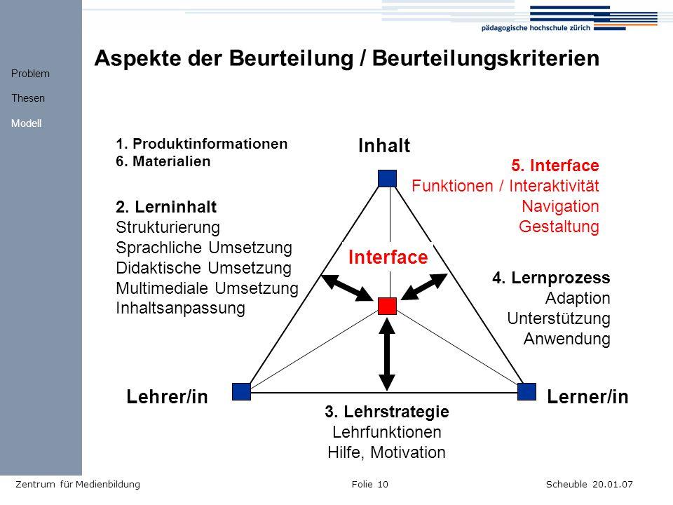 Aspekte der Beurteilung / Beurteilungskriterien