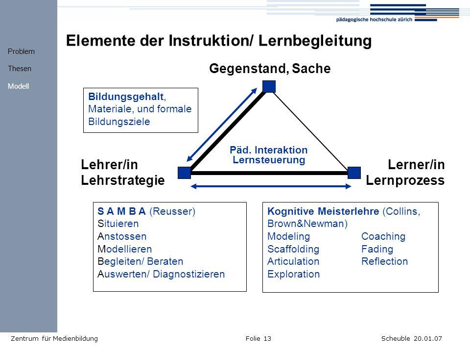 Elemente der Instruktion/ Lernbegleitung