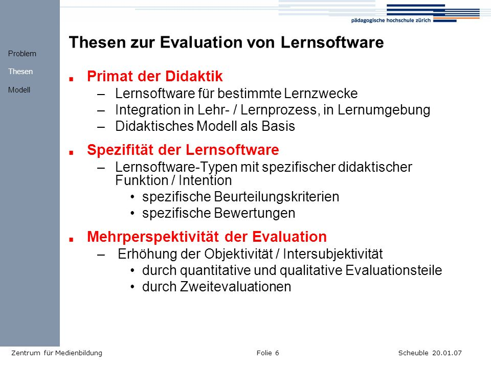 Thesen zur Evaluation von Lernsoftware