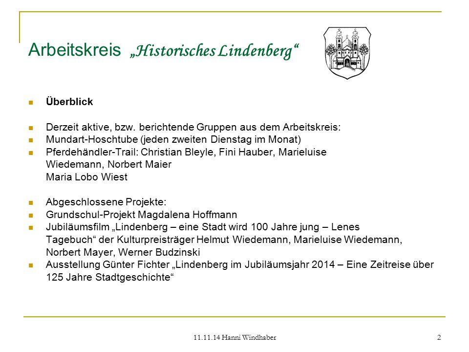 """Arbeitskreis """"Historisches Lindenberg"""
