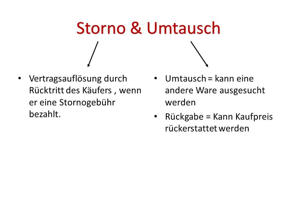 Storno & Umtausch Vertragsauflösung durch Rücktritt des Käufers , wenn er eine Stornogebühr bezahlt.