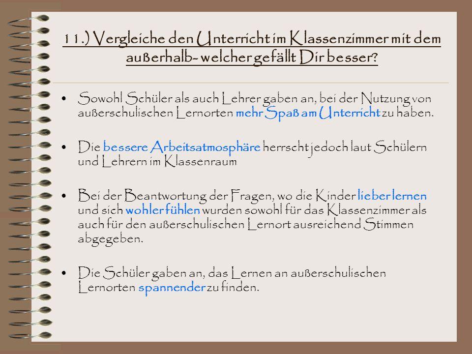 11.) Vergleiche den Unterricht im Klassenzimmer mit dem außerhalb- welcher gefällt Dir besser