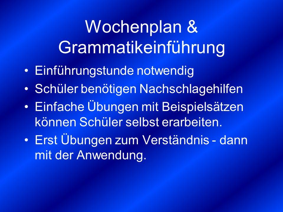 Wochenplan & Grammatikeinführung