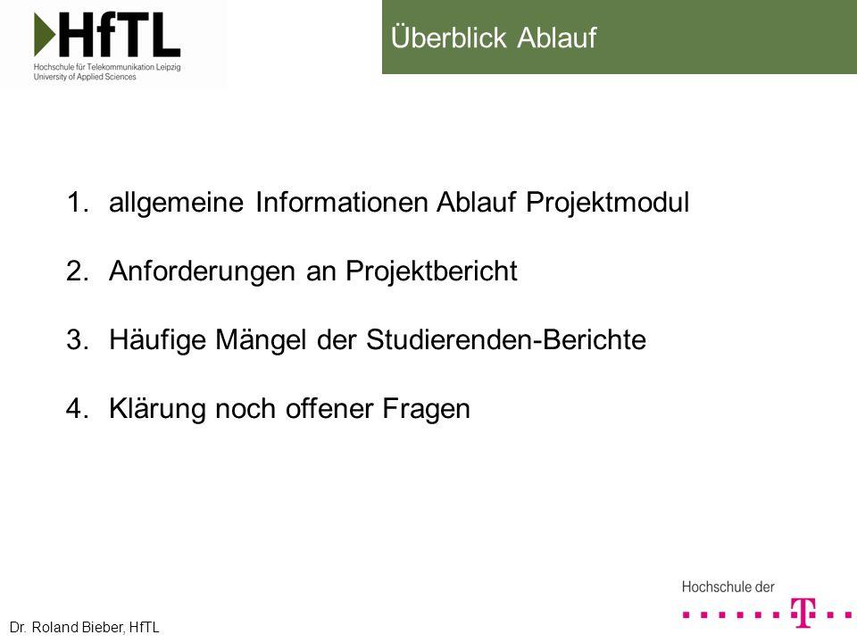 allgemeine Informationen Ablauf Projektmodul