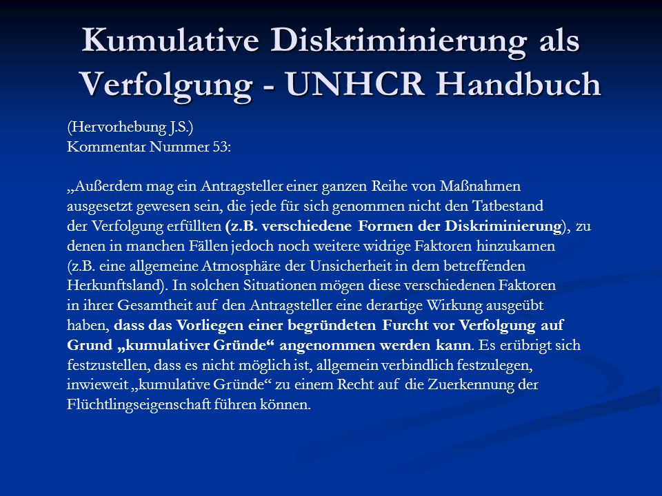 Kumulative Diskriminierung als Verfolgung - UNHCR Handbuch