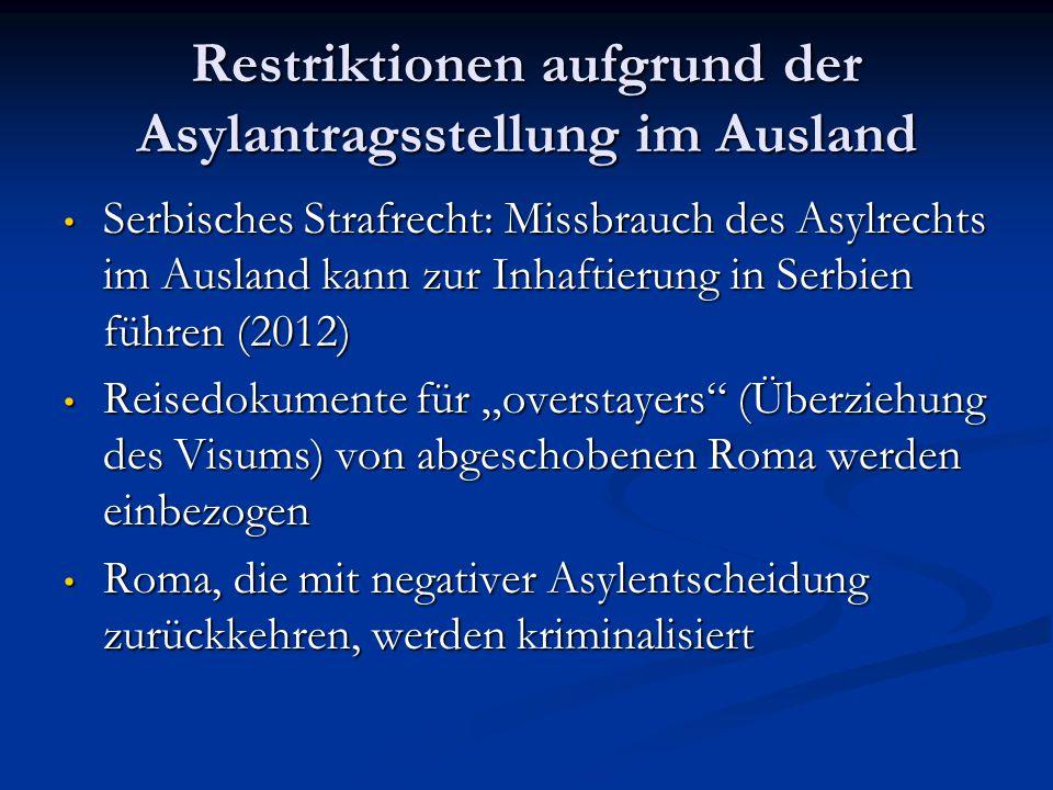 Restriktionen aufgrund der Asylantragsstellung im Ausland