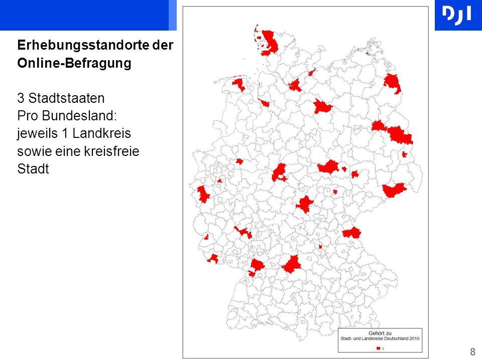 Erhebungsstandorte der Online-Befragung 3 Stadtstaaten Pro Bundesland: jeweils 1 Landkreis sowie eine kreisfreie Stadt