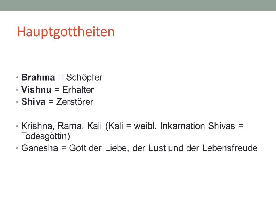 Hauptgottheiten Brahma = Schöpfer Vishnu = Erhalter Shiva = Zerstörer