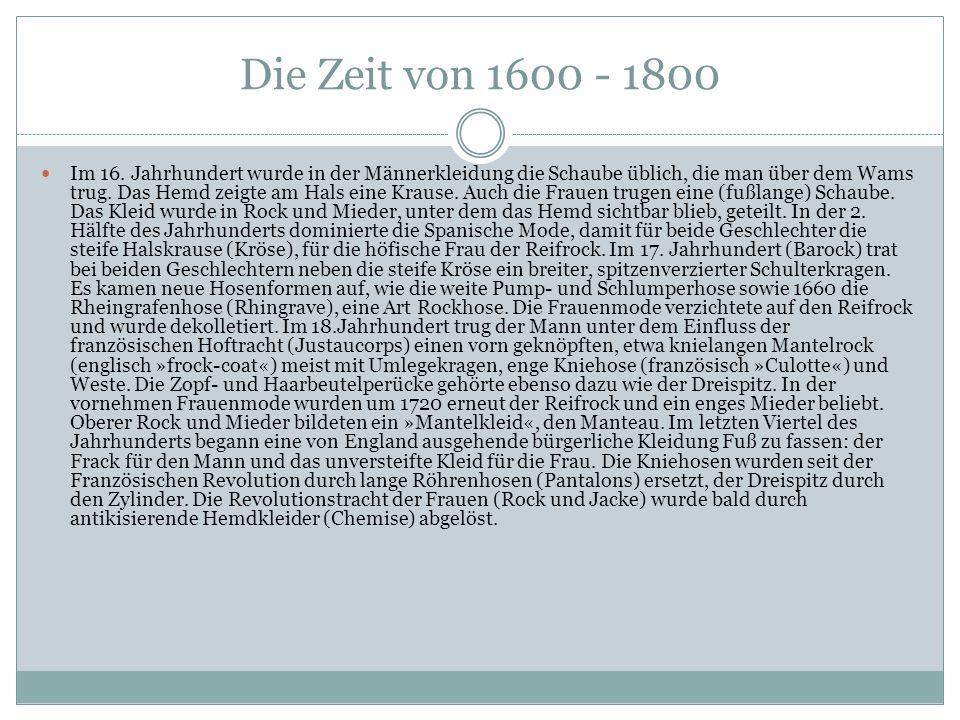 Die Zeit von 1600 - 1800
