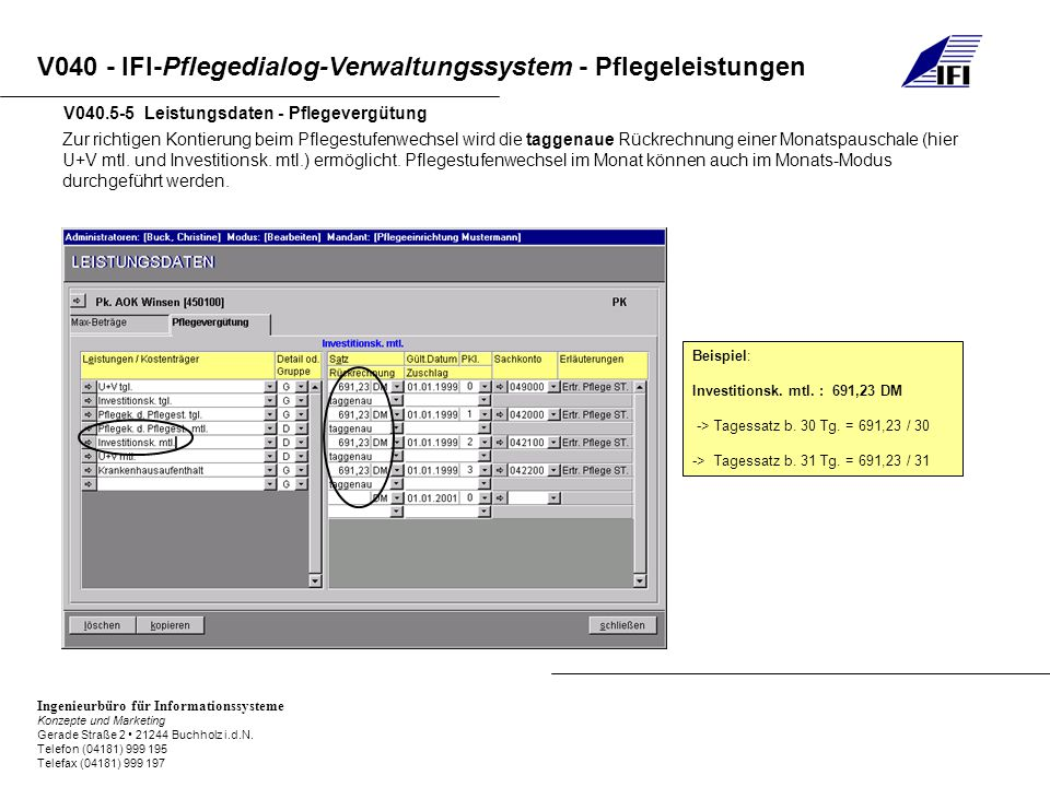 V040.5-5 Leistungsdaten - Pflegevergütung