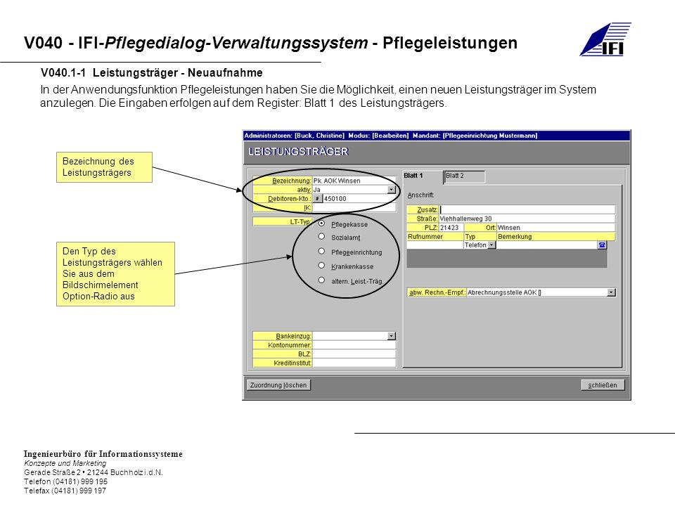 V040.1-1 Leistungsträger - Neuaufnahme