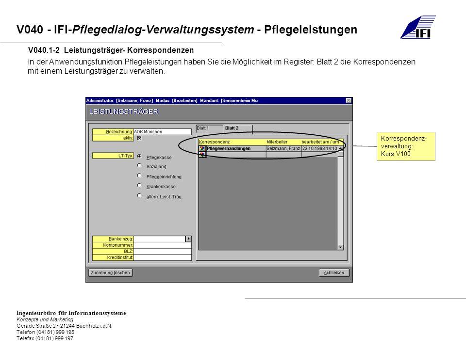 V040.1-2 Leistungsträger- Korrespondenzen