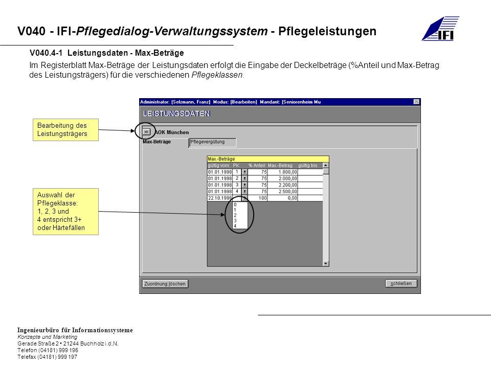 V040.4-1 Leistungsdaten - Max-Beträge