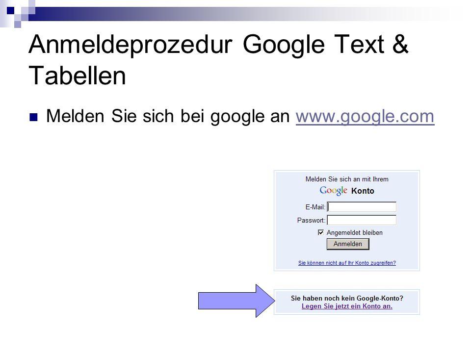 Anmeldeprozedur Google Text & Tabellen