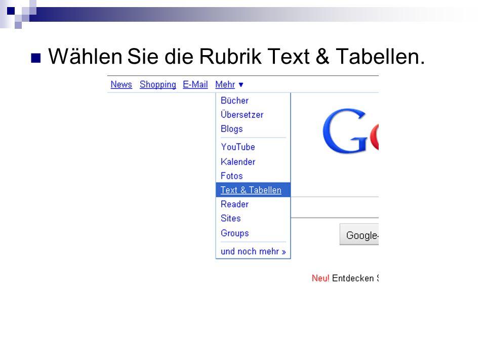 Wählen Sie die Rubrik Text & Tabellen.