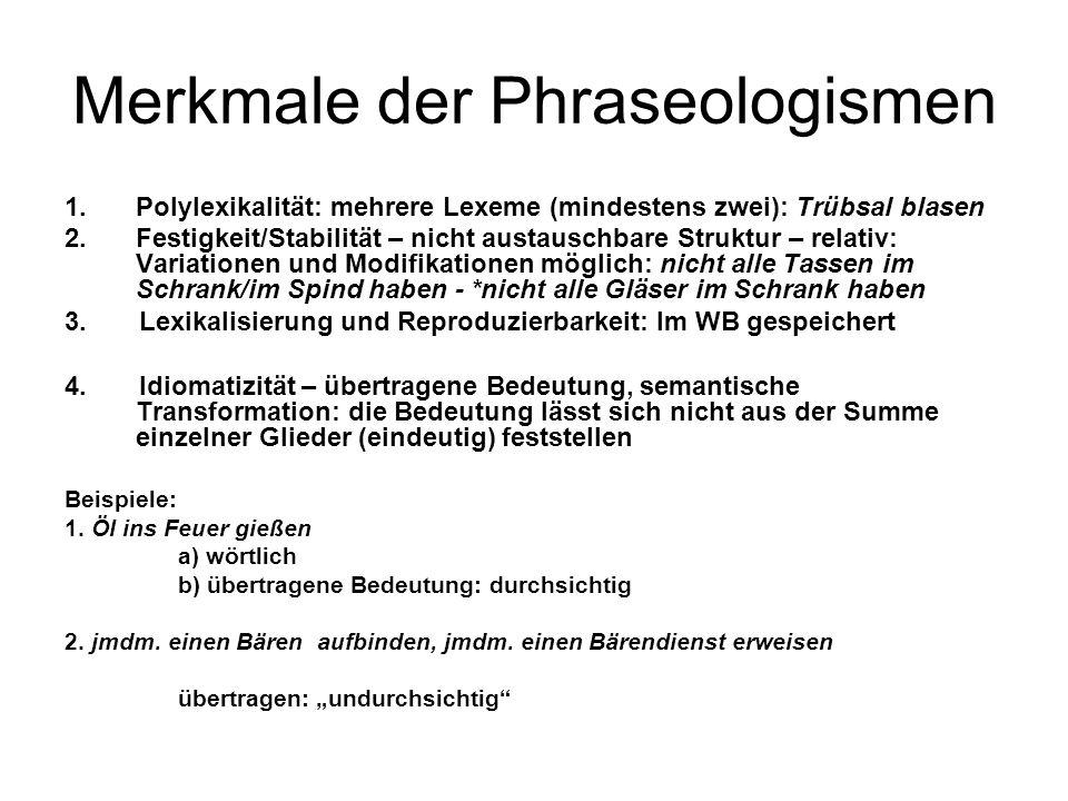 Merkmale der Phraseologismen