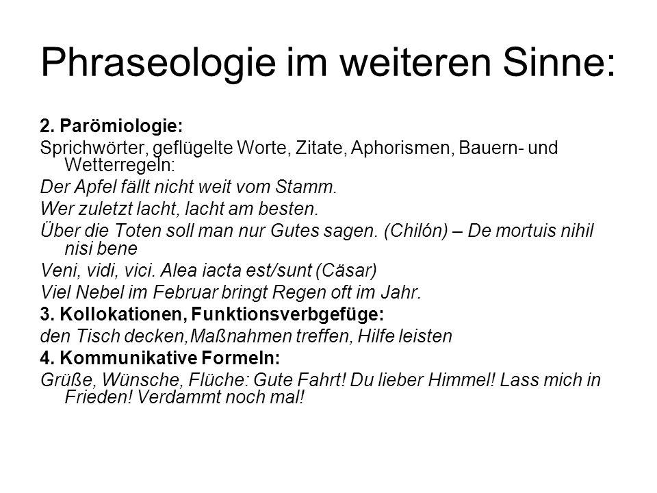 Phraseologie im weiteren Sinne: