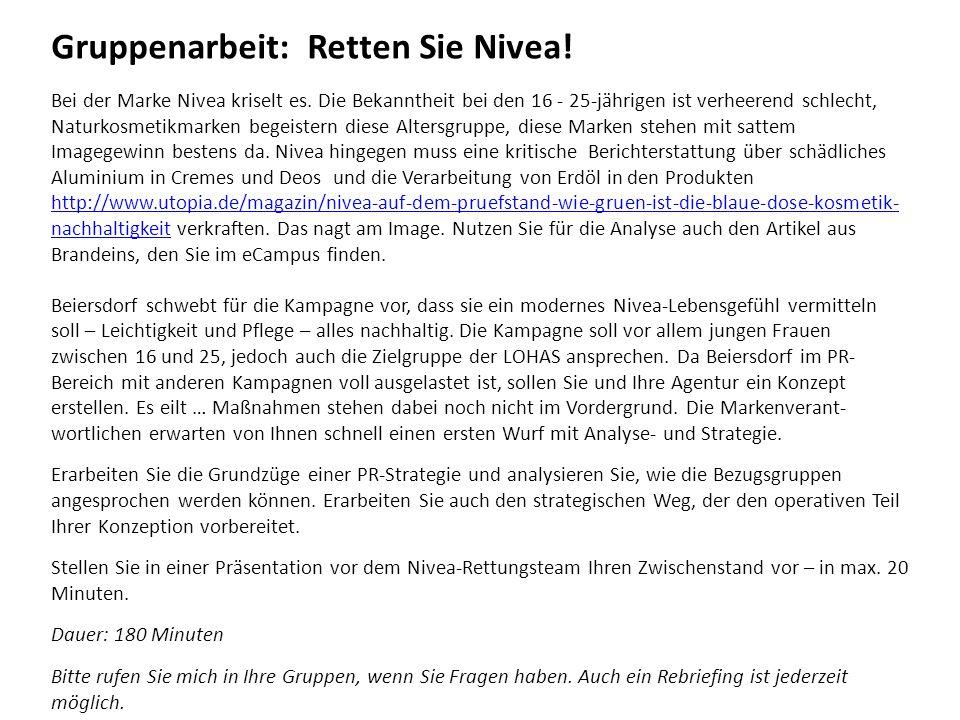 Gruppenarbeit: Retten Sie Nivea!