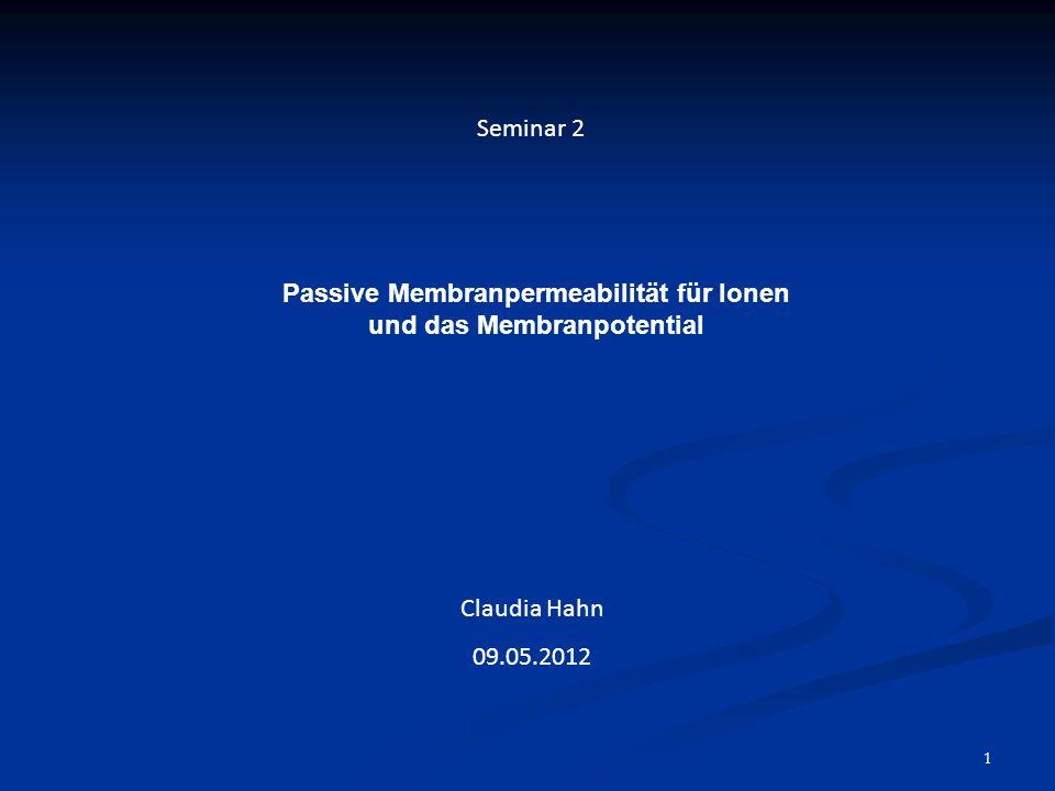 Passive Membranpermeabilität für Ionen und das Membranpotential