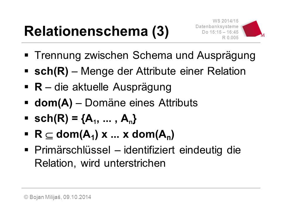 Relationenschema (3) Trennung zwischen Schema und Ausprägung
