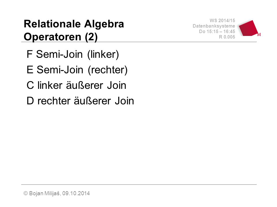 Relationale Algebra Operatoren (2)